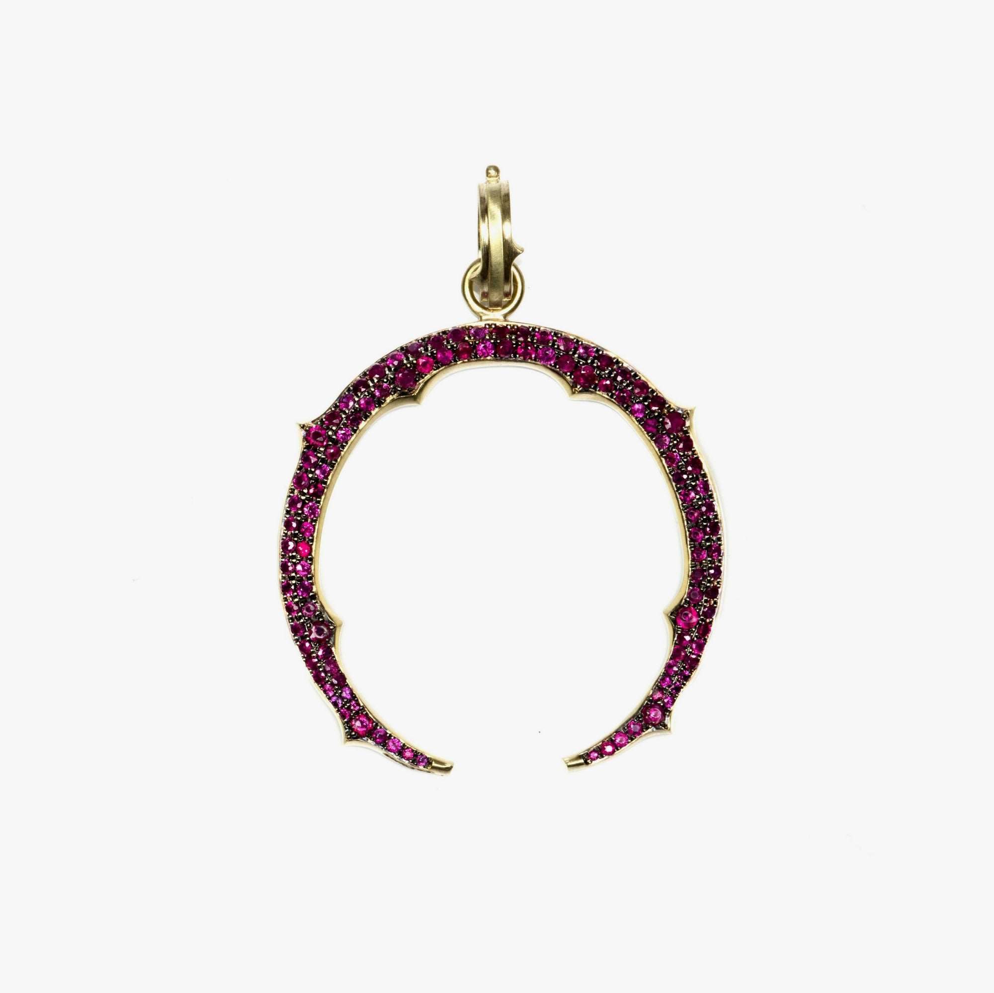 Horse Shoe Charm with Rubies