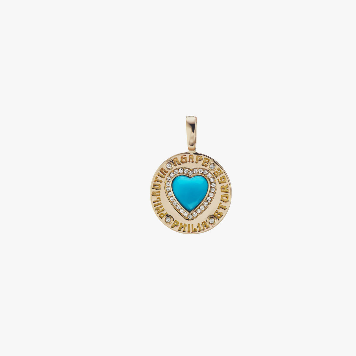 Turquoise Heart Coin Charm