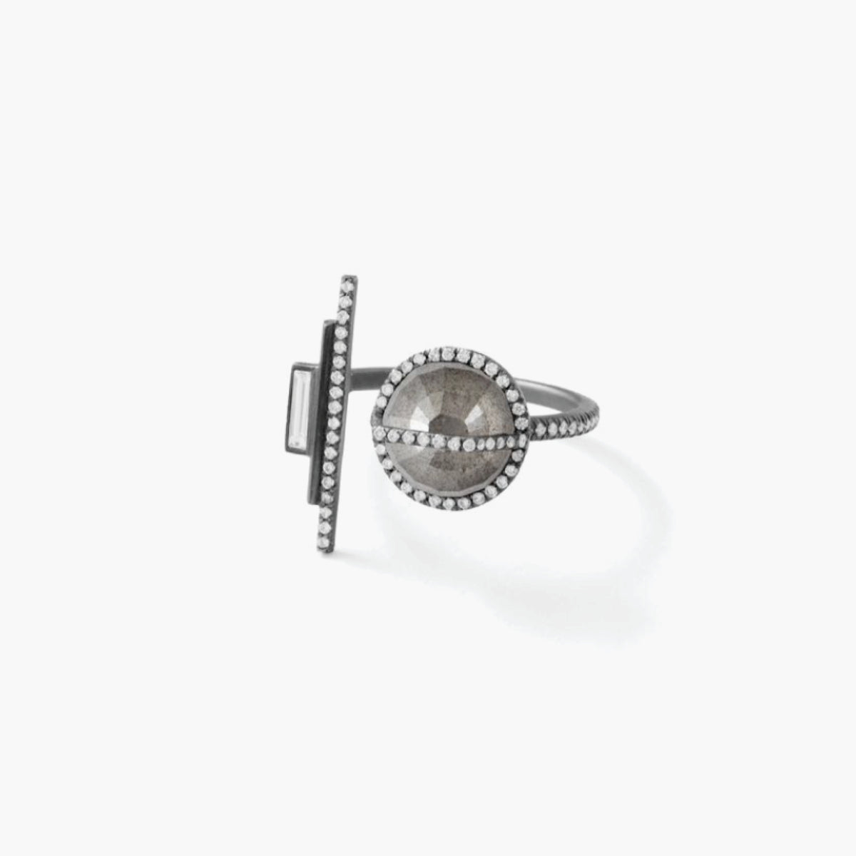 Grey Waterfall Cut Diamond Ring