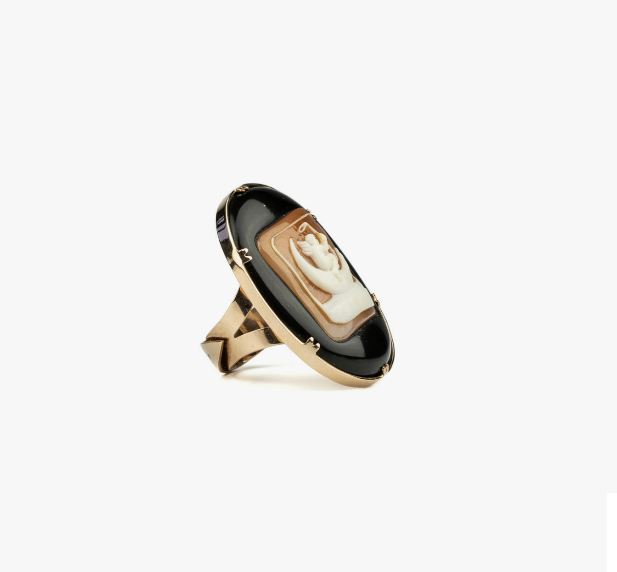 Angel on the Moon Cameo Ring