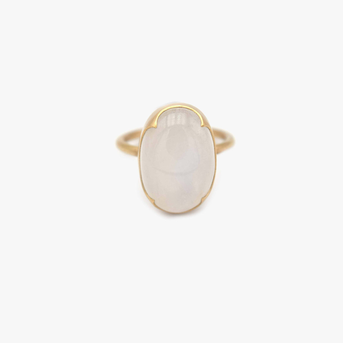 Large Oval White Moonstone Ring