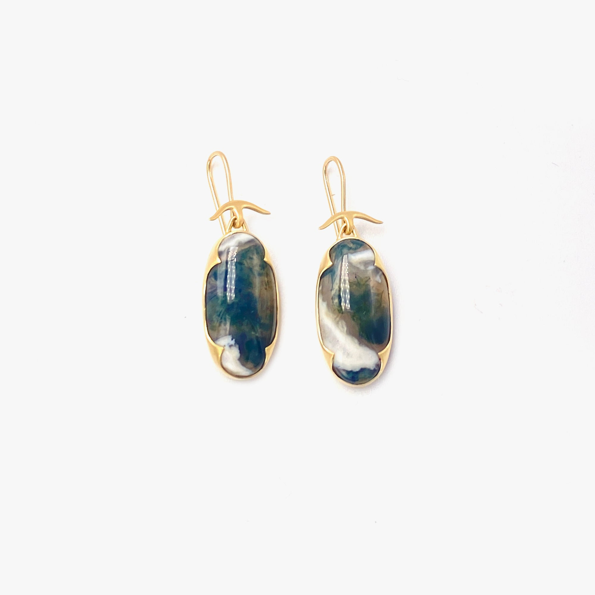 Oval Moss Agate Earrings