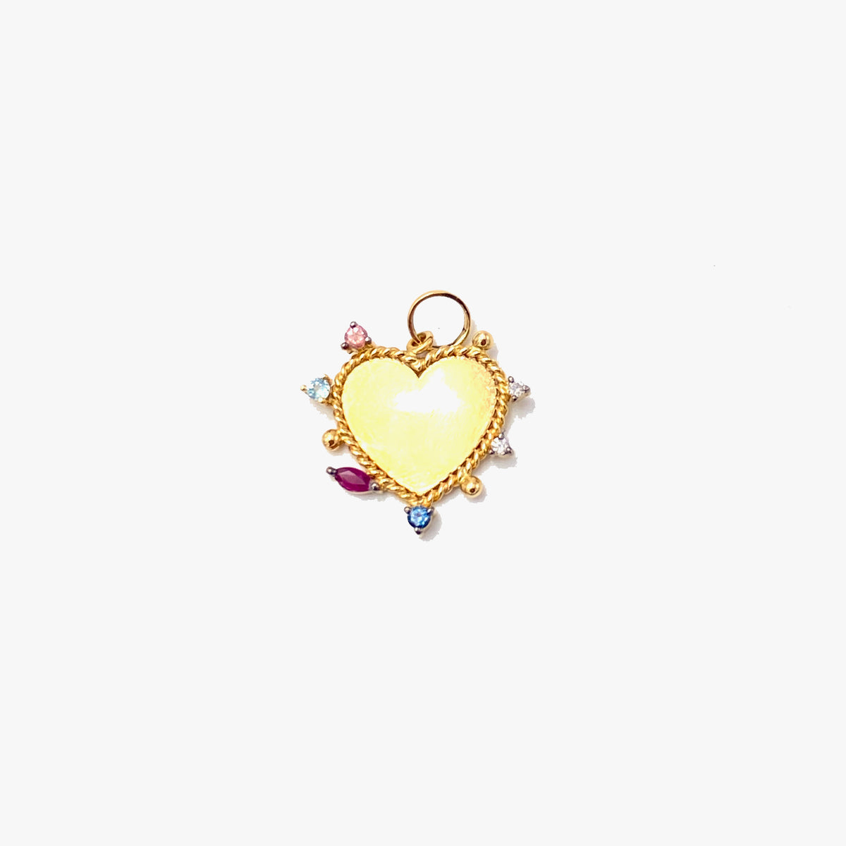 Heart Charm with Multi-Color Gemstones
