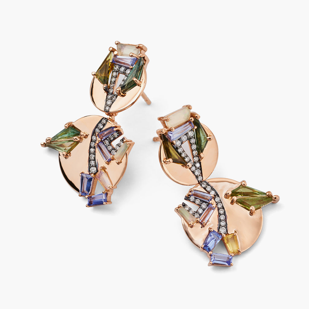Antwerp Earrings with Tanzanite and Green Tourmaline