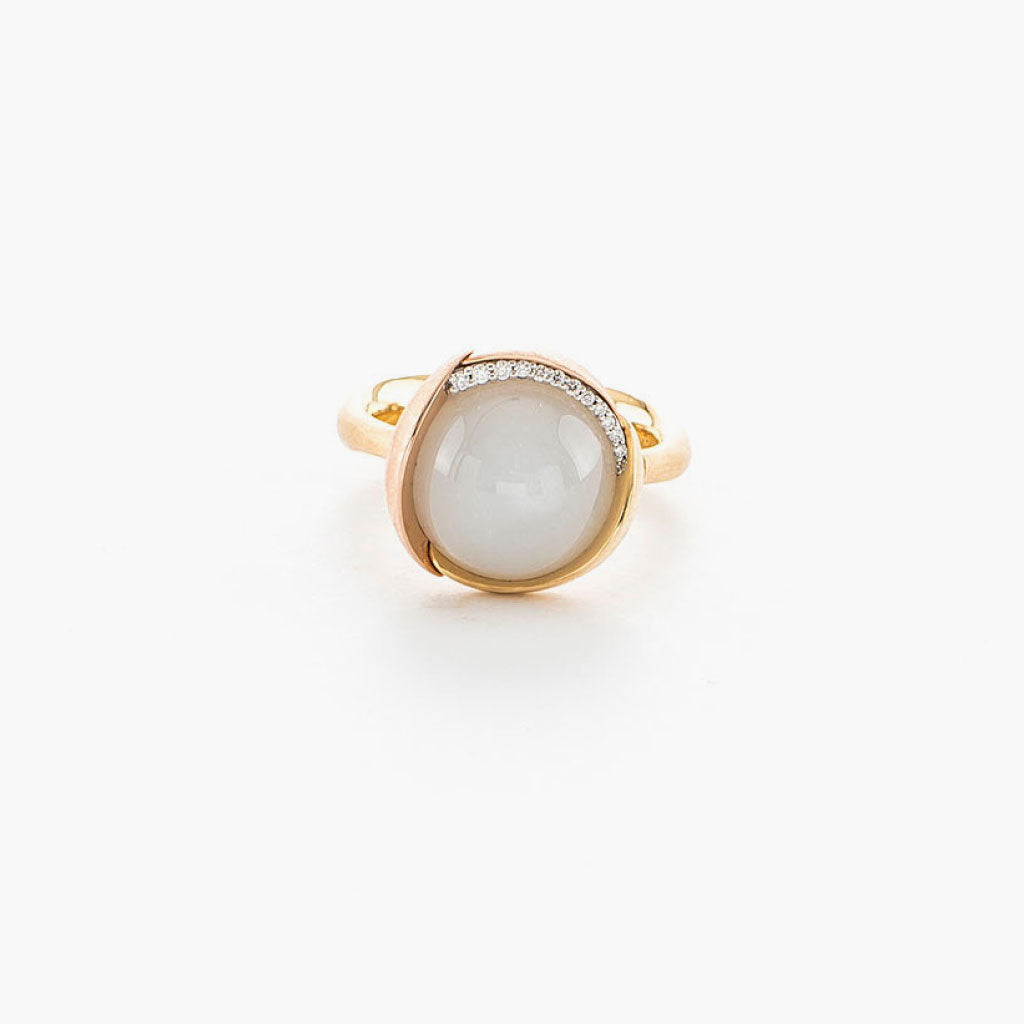 White Moonstone Lotus Ring