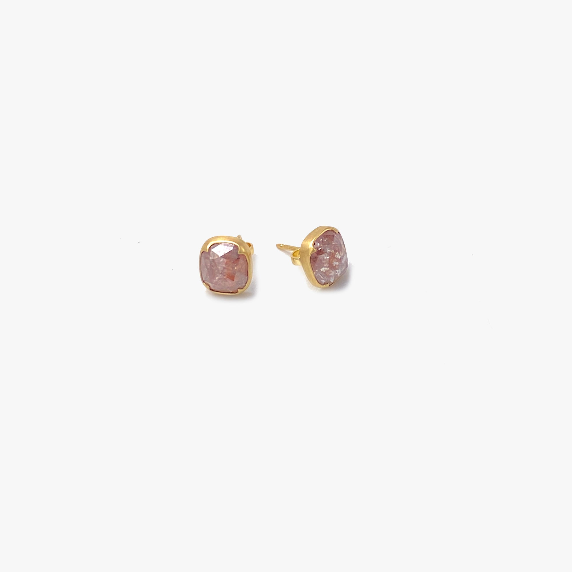 Peach Lacy Diamond Studs