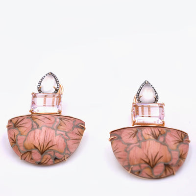 Moonstone and Pink Gink Marquetry Earrings