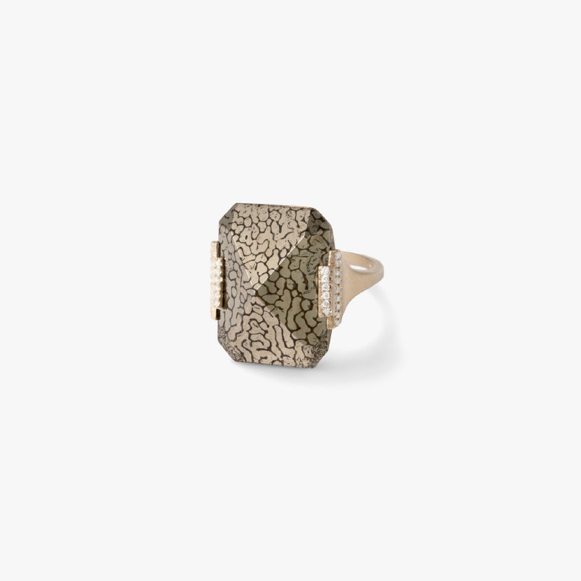 Pyritized Dinosaur Bone Rectangular Ring