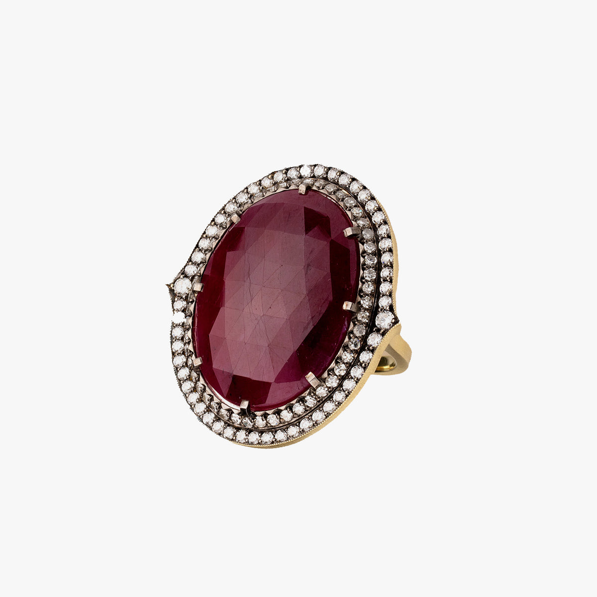 Ruby Oval Faceted Ring