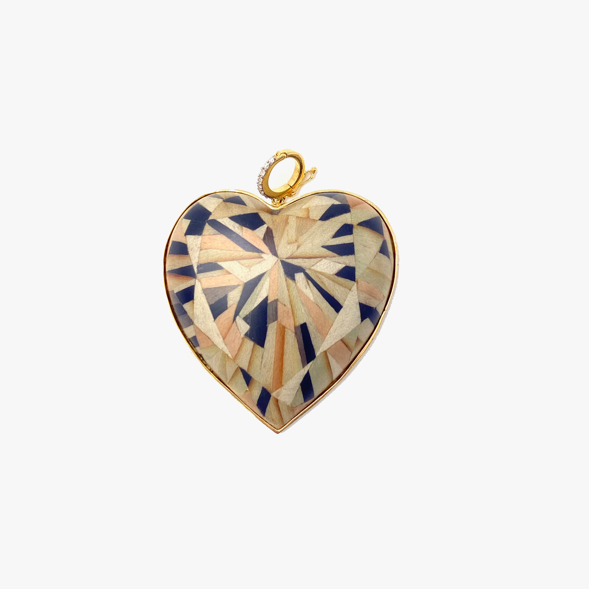 Marquetry Heart Charm