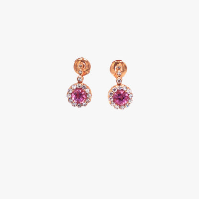 Beirut Pink Spinel and Diamond Earrings