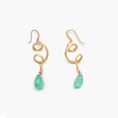 Gold Snake Earrings with Pale Emerald Drops