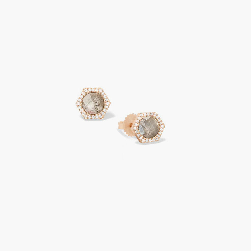 Hexagonal Diamond Slice Studs