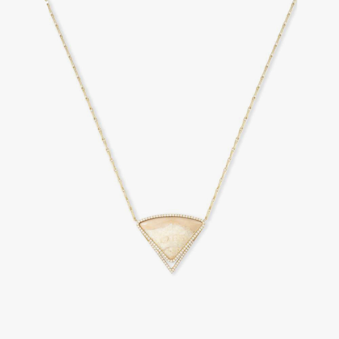 Taupe Fossilized Walrus Ivory Necklace