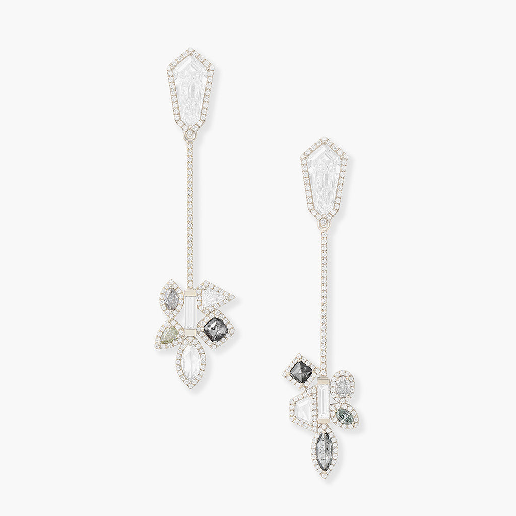 White Shield Cut Diamond Earrings