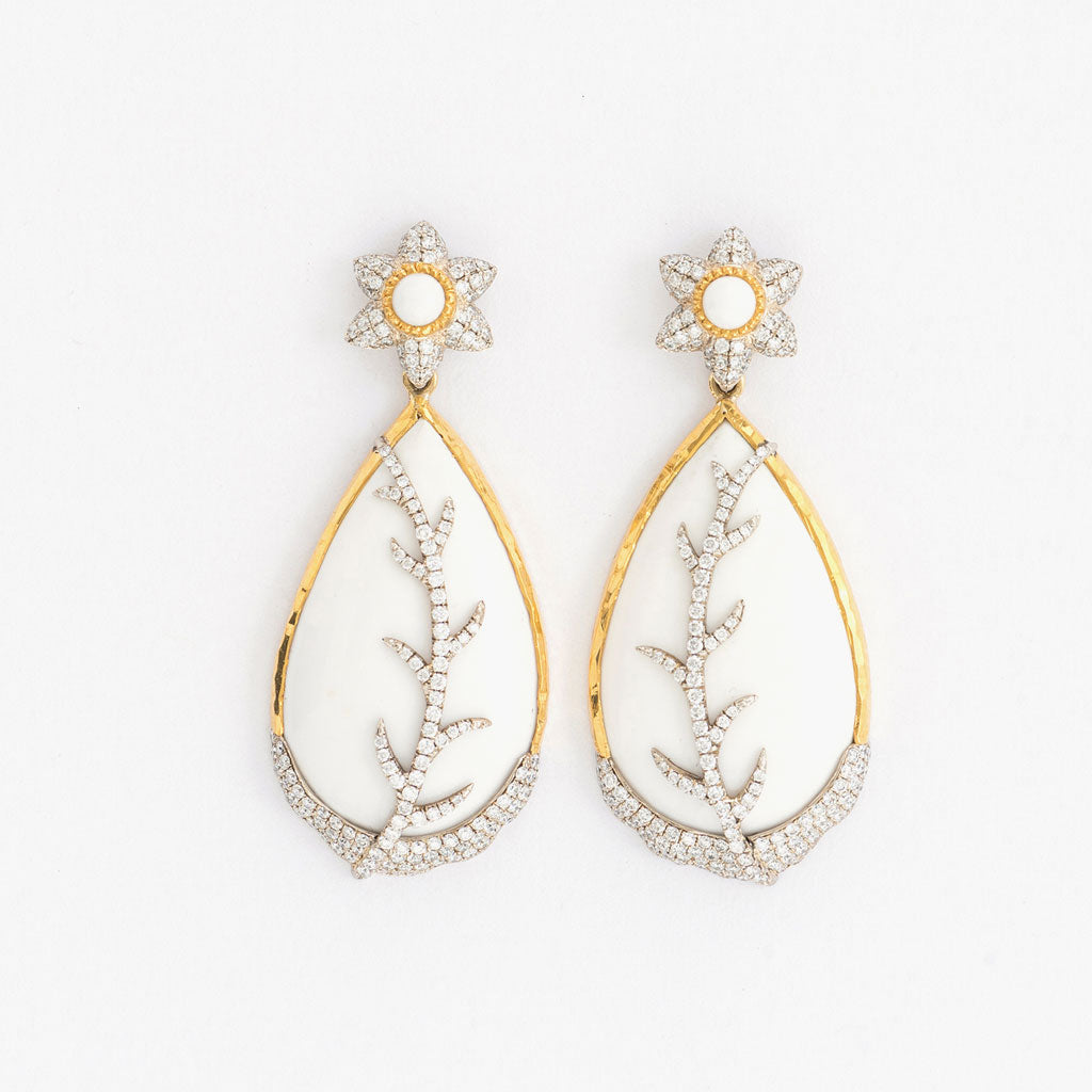 White Opal Teardrop Earring