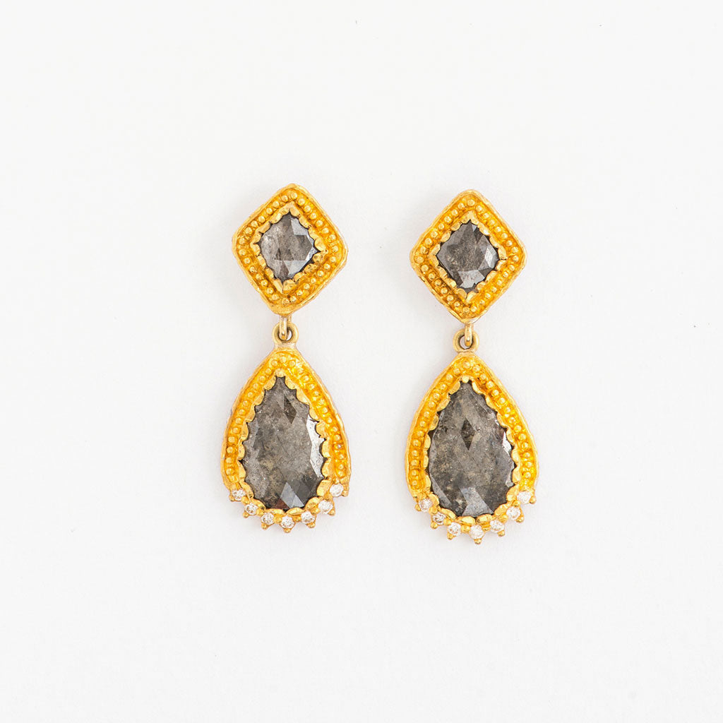 Rustic Diamond Teardrop Earrings
