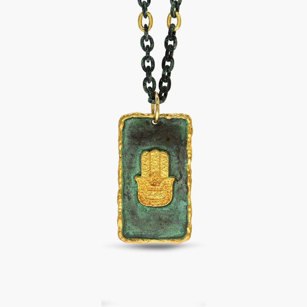 Hand of God Patina Pendant & Chain