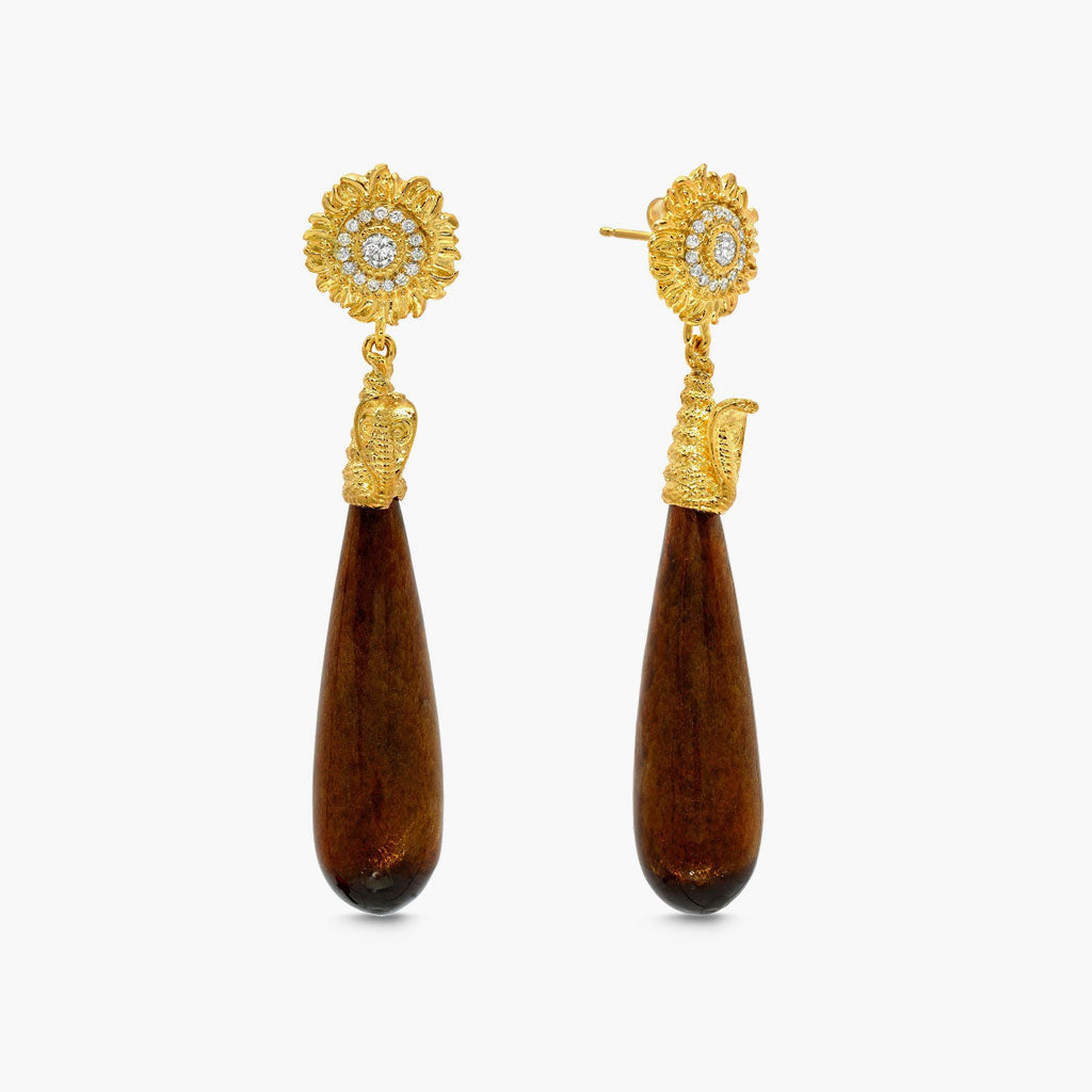 Wooden Drop Earrings with sunflower studs