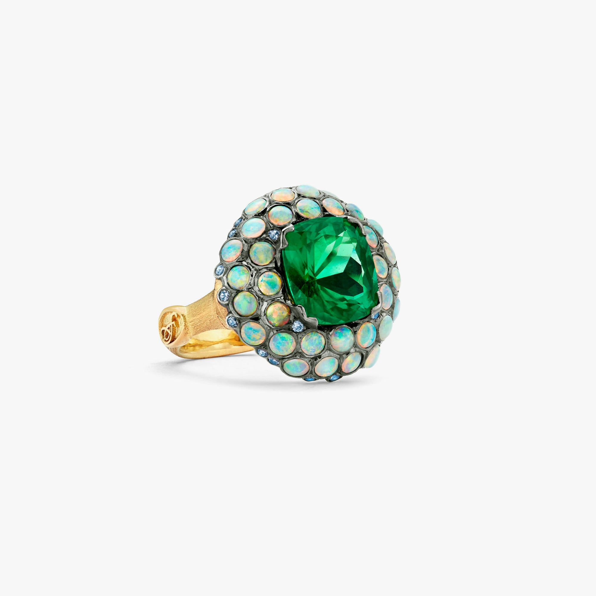 Constellation Ring with Cushion-Cut Emerald Center