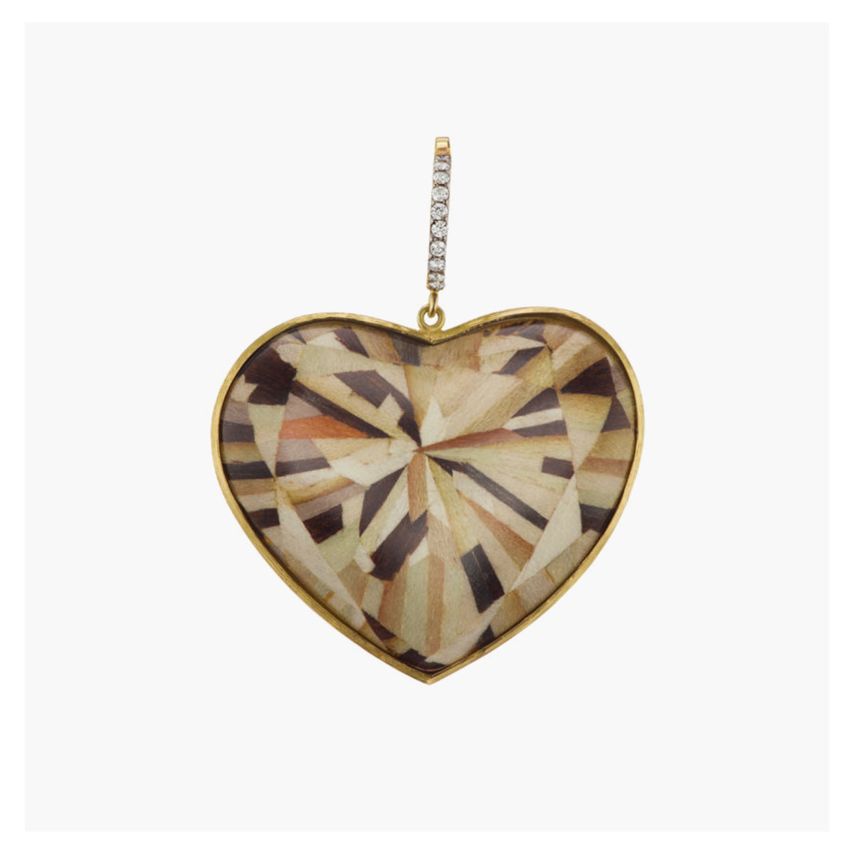 Large Neutral Color Marquetry Heart Charm