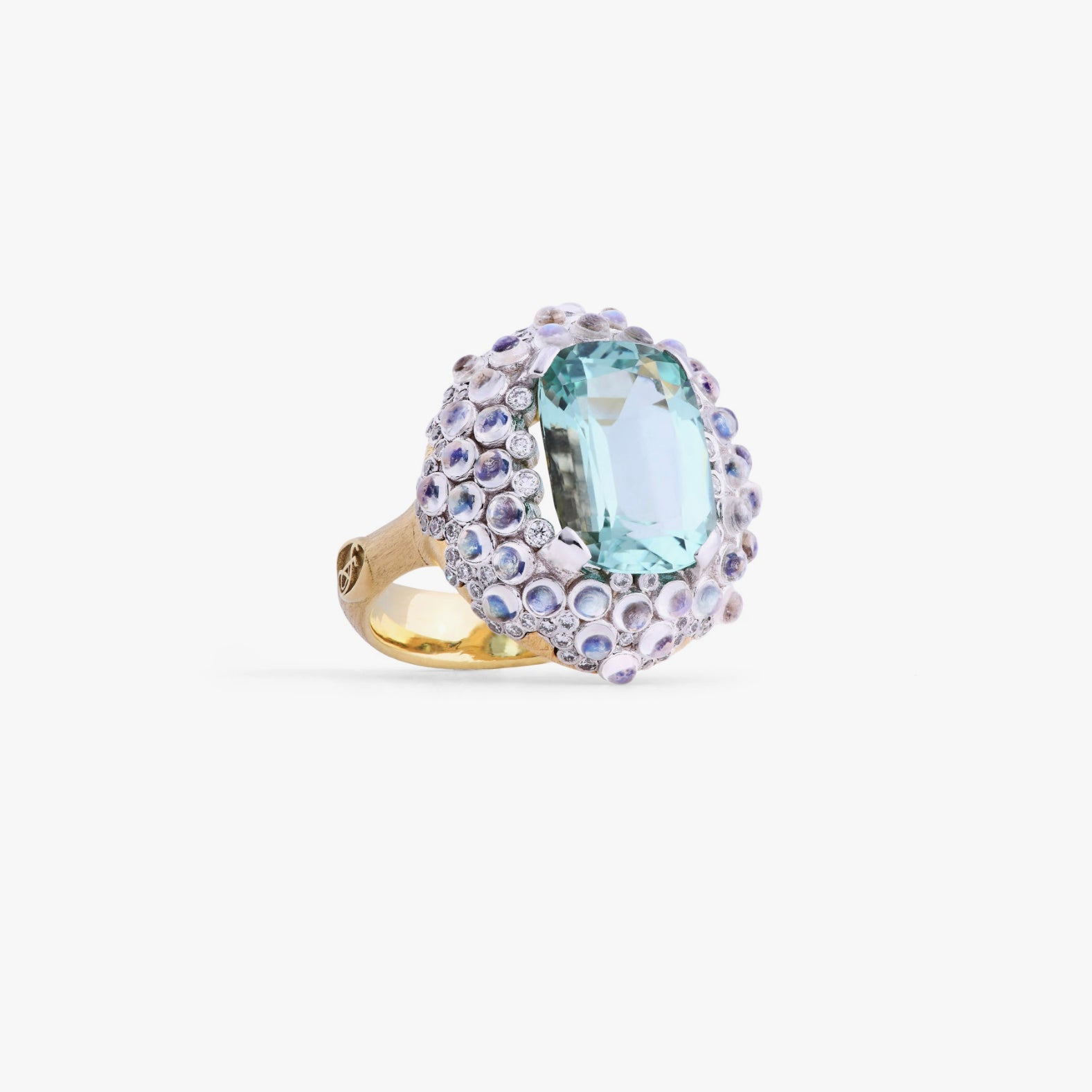 Constellation Collection Oval Paraiba Ring with Blue Moonstones