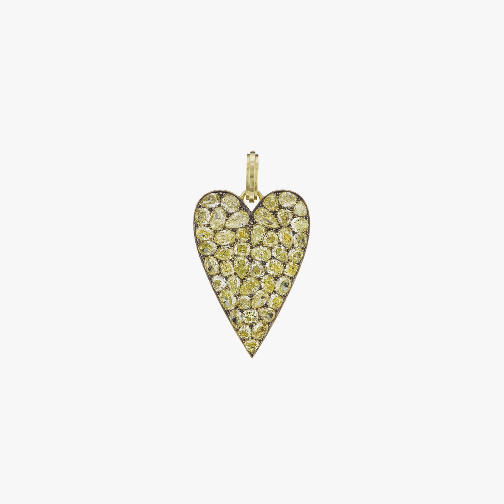 Fancy Yellow Diamonds Heart Charm
