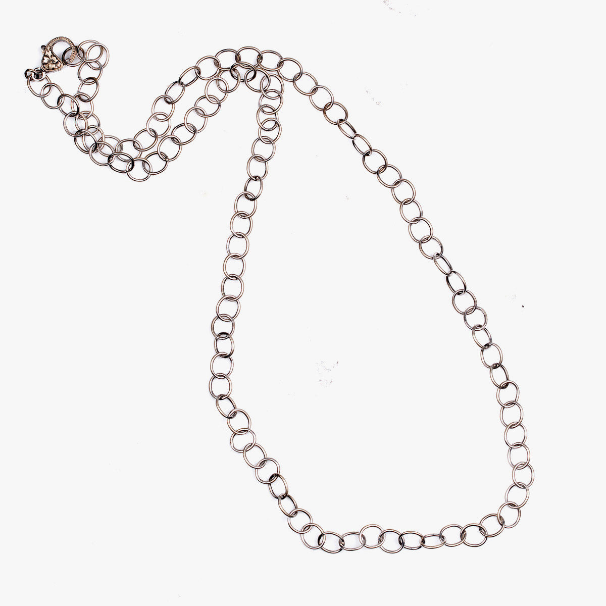 White Gold Round Link Necklace