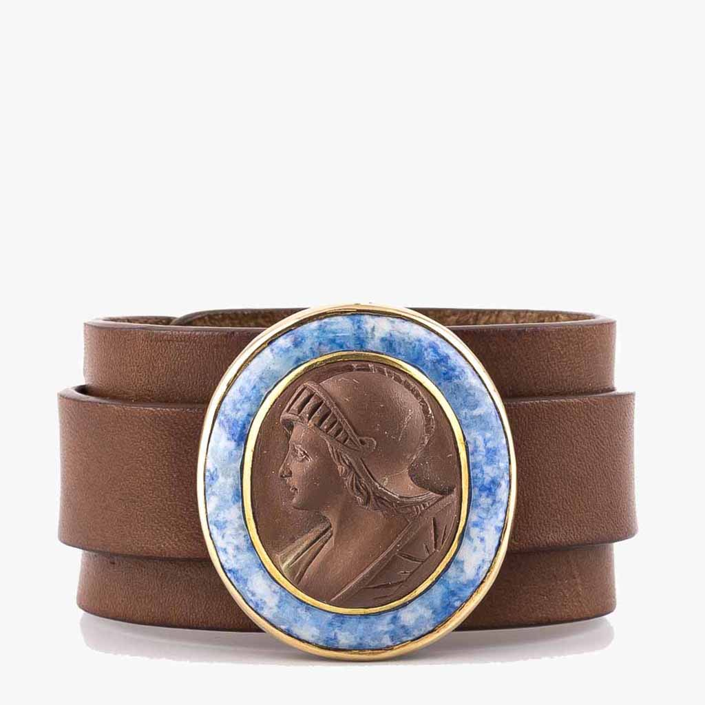 Brown Lava Warrior Cameo Bracelet