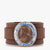 Brown Warrior Leather Bracelet with Lapis