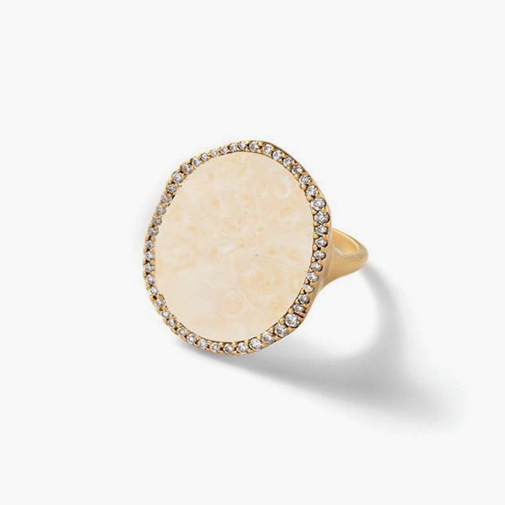 Cream Fossilized Walrus Ivory and White Diamond Oval Ring