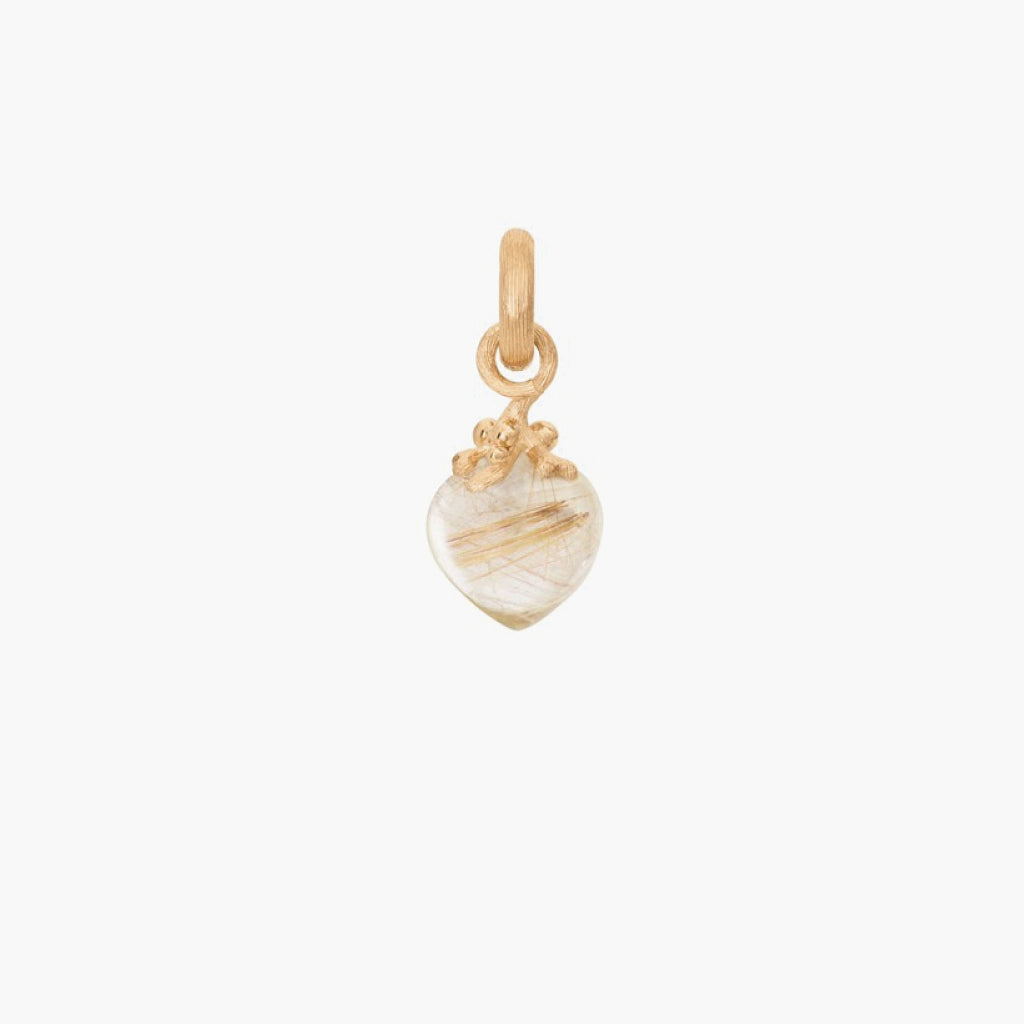 Sweet Drop Charm with Rutile Quartz