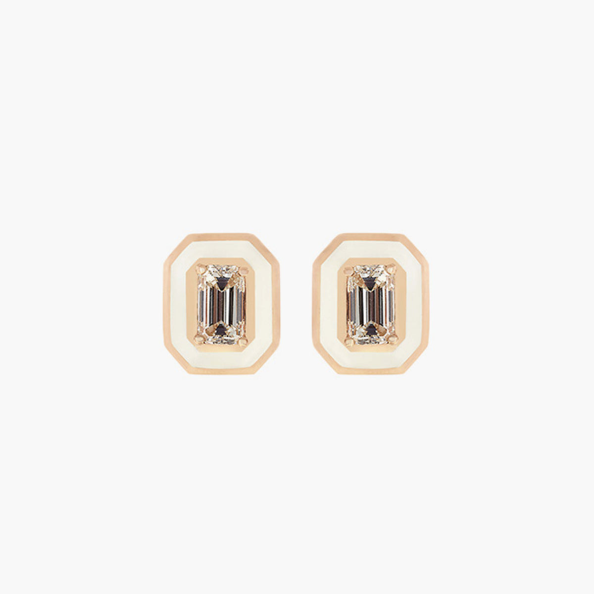 Ivory Enamel & Diamonds Earrings
