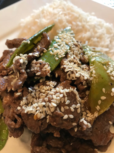Asian Beef Snap Pea with White Rice