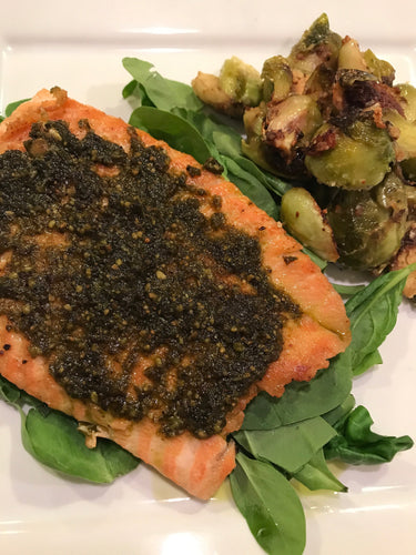 Low Carb Pesto Salmon with Brussel Sprouts