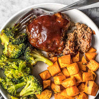 BBQ Turkey Meatloaf w/ Roasted Sweet Potatoes