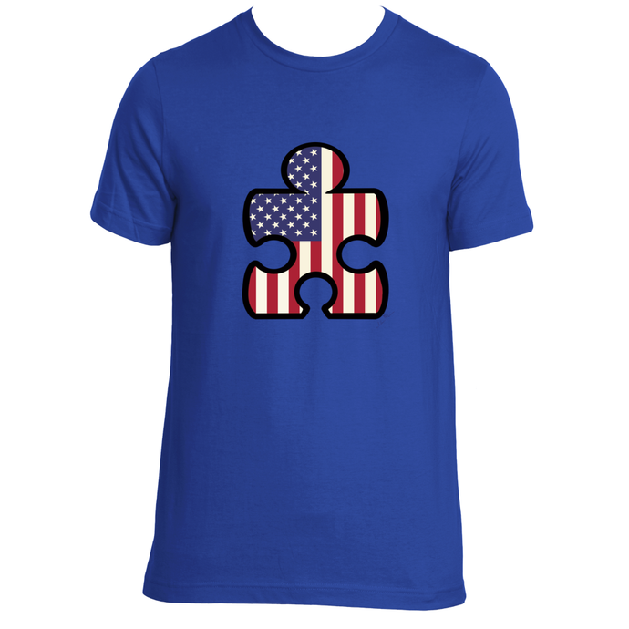 American Flag Puzzle Piece T-Shirt