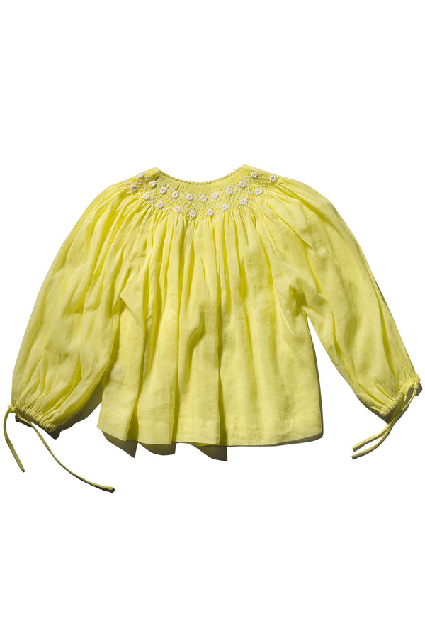 Hand Smocked High Collar Blouse - Farrah Weydrims Zest Ramie