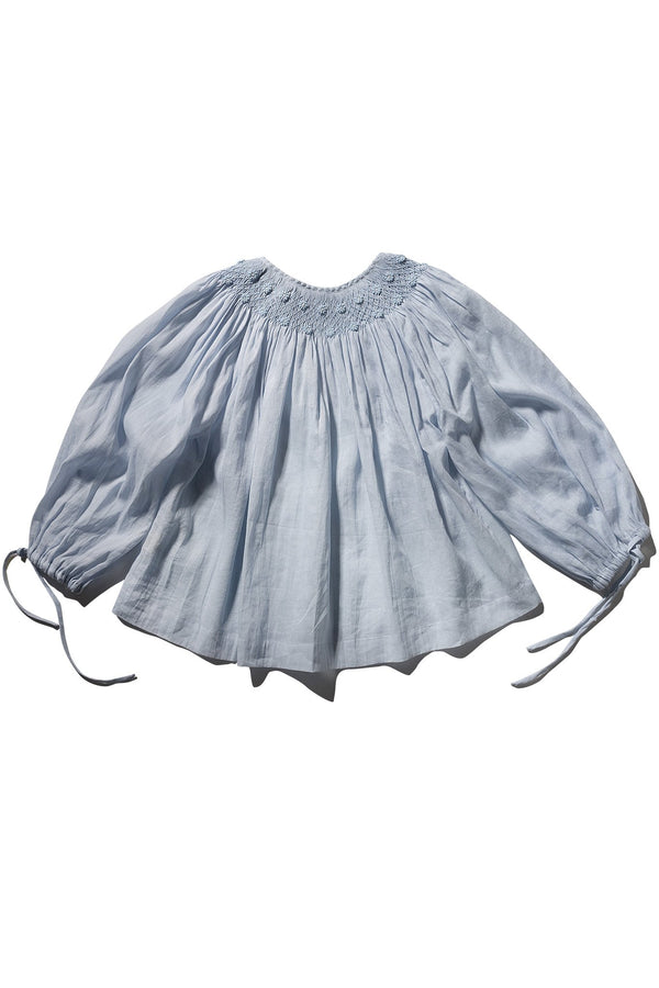 Farrah Weydrims - Hand Smocked High Collar Blouse Dusk Ramie