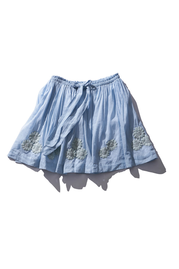 Embroidered Mini Skirt - Terry Belle in Dusk Ramie