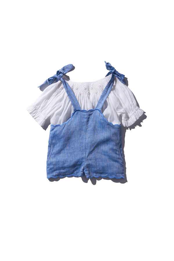 KIDS DUNGAREE SHORT Chambray - Berry Baard PRE ORDER