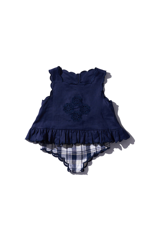 KIDS SHELL TOP  Navy Peony - Sui Telaidey PRE ORDER