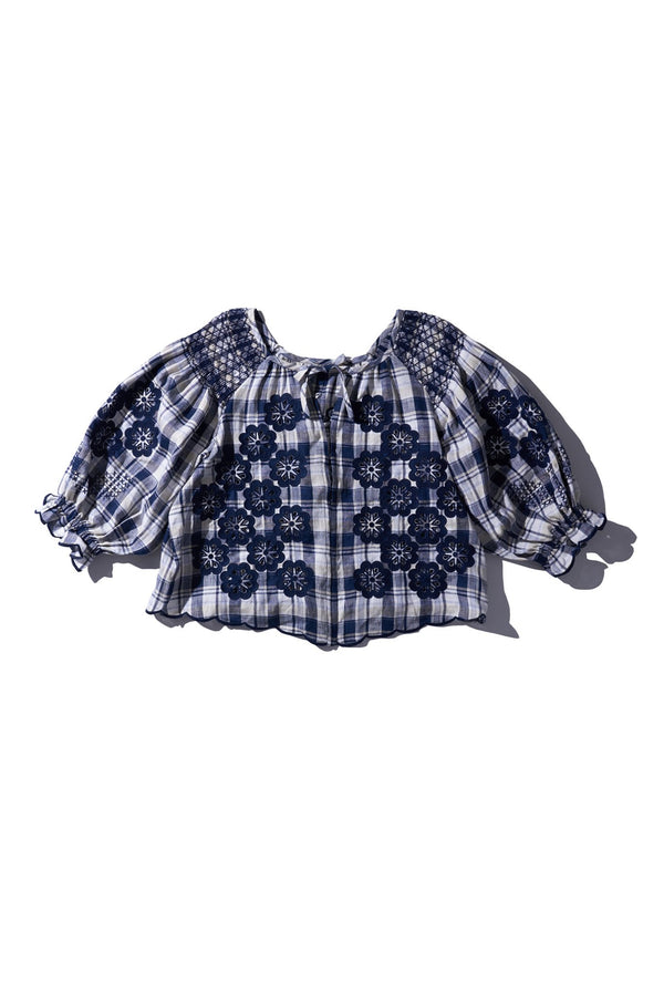 SMOCK TOP  Navy Cream Check - Oliver Daily