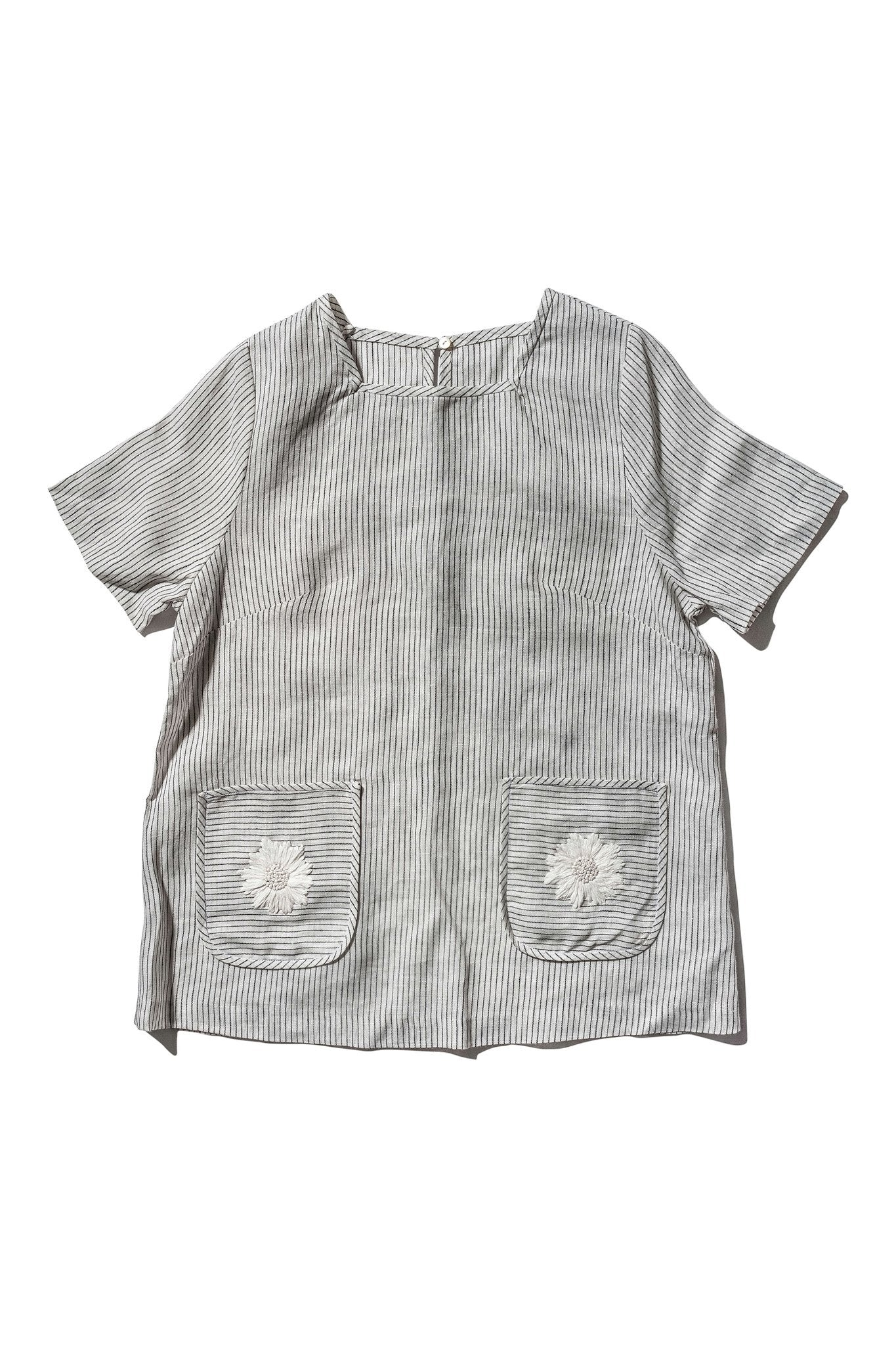 Hand Embroidered Daisy Box Blouse - Mary Laaf Little Stripe