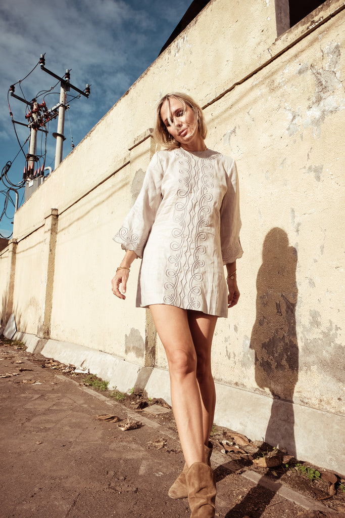 Embellished Mod Mini Dress - Penny Pyncha in String - Innika Choo