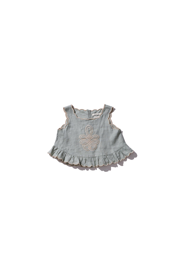 Girls Shell Top - Sui Telaidey in Light Moss Linen - Innika Choo