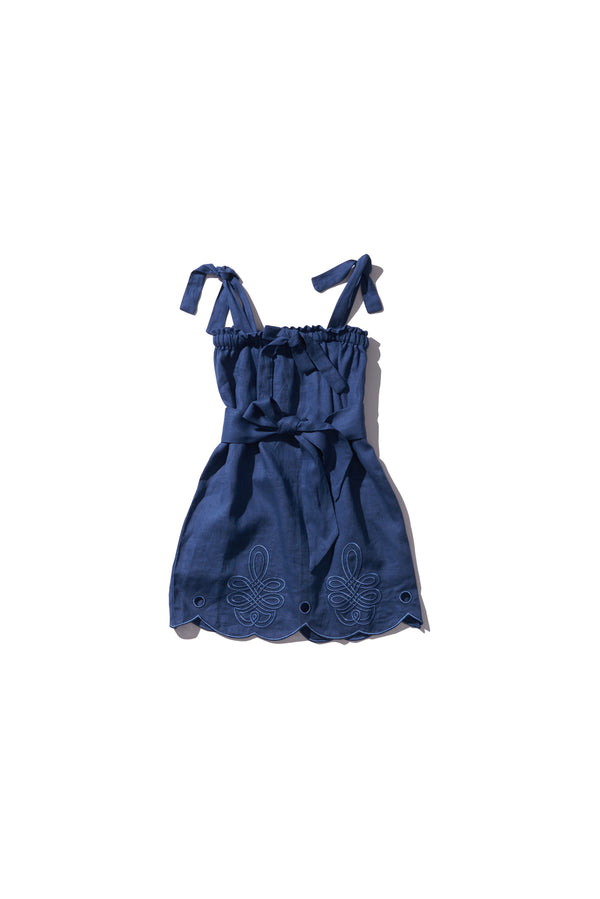 Girls Multi Wear Dress or Long Skirt - Nev Erontym in Copen Blue Linen - Innika Choo
