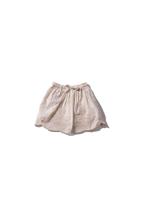 Girls Mini Skirt - Min Easkurt in Gold and Silver Stripe Cotton Lurex - Innika Choo