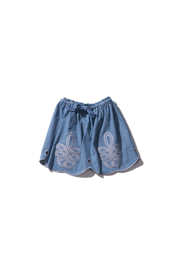 Girls Mini Skirt - Min Easkurt in Copen Stripe Jean - Innika Choo