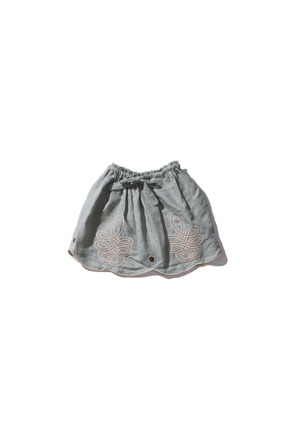 Girls Mini Skirt - Min Easkurt in Light Moss Linen - Innika Choo